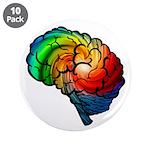 """Neurodiversity Rainbow Brain 3.5"""" Button (10"""