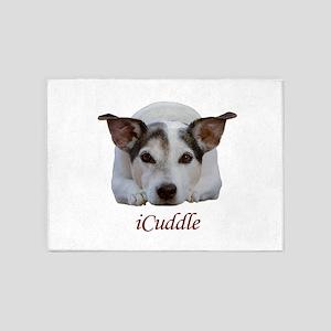 Cute iCuddle Jack Russel Dog 5'x7'Area Rug