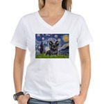 Starry / Black Skye Terrier Women's V-Neck T-Shirt