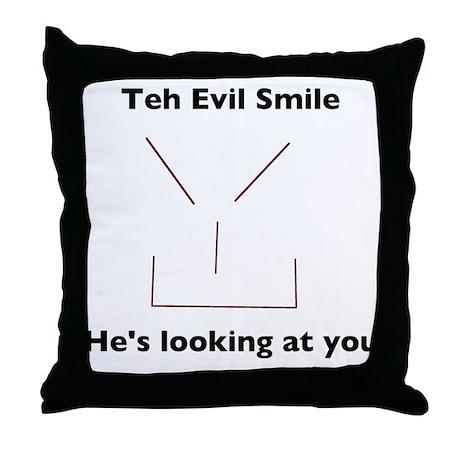 Teh Evil Smiley Throw Pillow