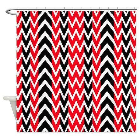 Black Red White Shower Curtain