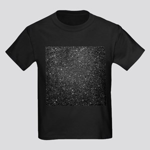Black faux glitter background. T-Shirt