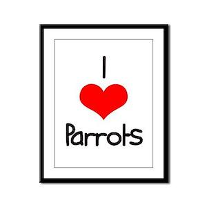 I Love (heart) Parrots Framed Panel Print