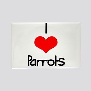 I Love (heart) Parrots Rectangle Magnet