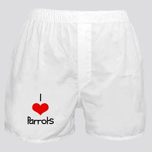 I Love (heart) Parrots Boxer Shorts