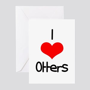 I Love (heart) Otters Greeting Cards (Pk of 20)