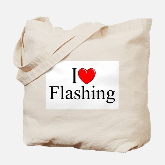 """I Love (Heart) Flashing"" Tote Bag"
