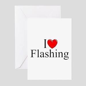"""I Love (Heart) Flashing"" Greeting Cards (Pk of 10"