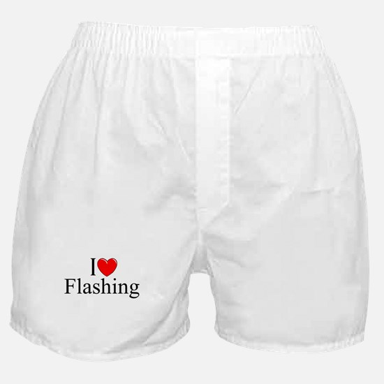 """I Love (Heart) Flashing"" Boxer Shorts"