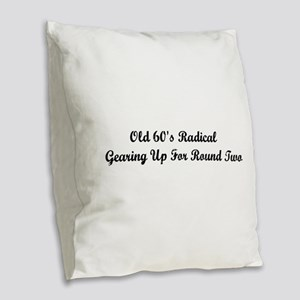 Old 60's Radical Burlap Throw Pillow