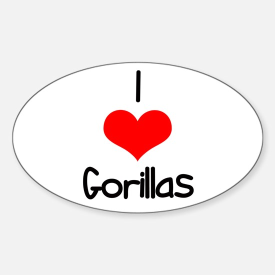 I Love (heart) Gorillas Oval Decal