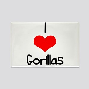 I Love (heart) Gorillas Rectangle Magnet