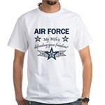 Air Force Wife defending White T-Shirt