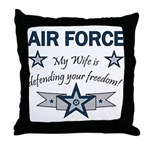 Air Force Wife defending Throw Pillow