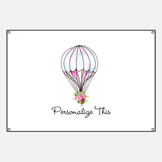 Floral Hot Air Balloon Personalized Banner