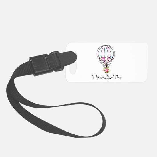 Floral Hot Air Balloon Personalized Luggage Tag