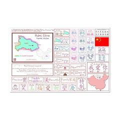 Hubei mini map Lifebook Scrapbook Cutouts