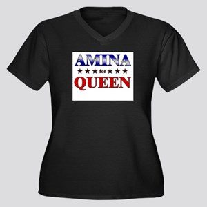 AMINA for queen Women's Plus Size V-Neck Dark T-Sh