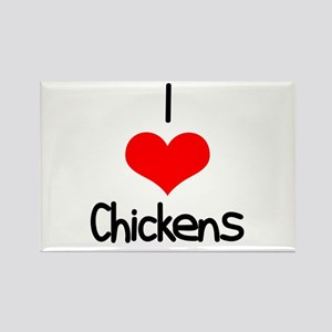 I Love (heart) Chickens Rectangle Magnet