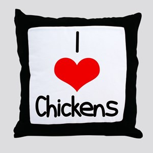 I Love (heart) Chickens Throw Pillow