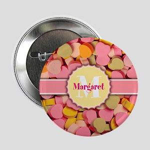 "PERSONALIZED Retro Candy Hearts 2.25"" Button"