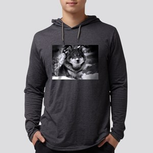Grey Wolf In Snow Long Sleeve T-Shirt
