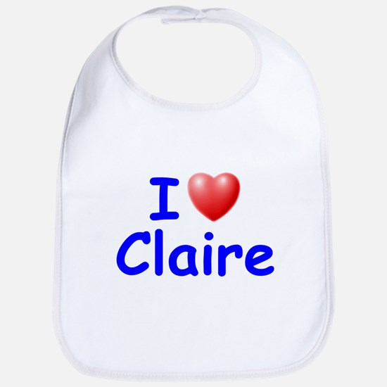 I Love Claire (Blue) Bib