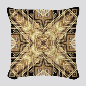Art Deco Gold Black Glamour Woven Throw Pillow