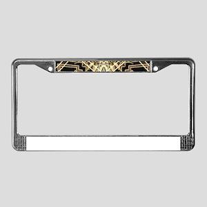 Art Deco Gold Black Glamour License Plate Frame