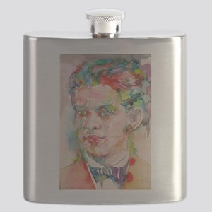 FEDERICO GARCIA LORCA watercolor portrait Flask
