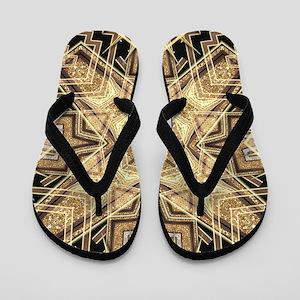 Art Deco Gold Black Glamour Flip Flops