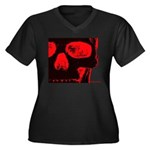Watching! Women's Plus Size V-Neck Dark T-Shirt