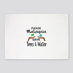 Please Malaysia Save Trees & Water 5'x7'Area Rug