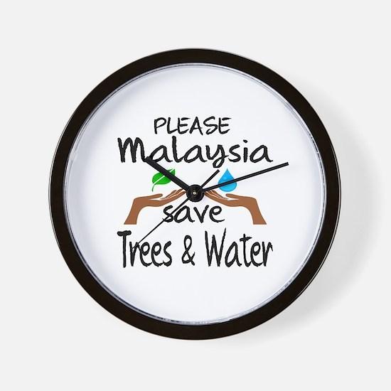 Please Malaysia Save Trees & Water Wall Clock