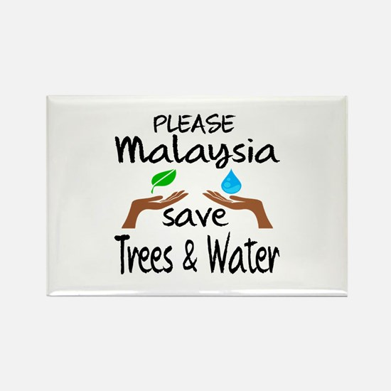 Please Malaysia Save Trees & Wate Rectangle Magnet