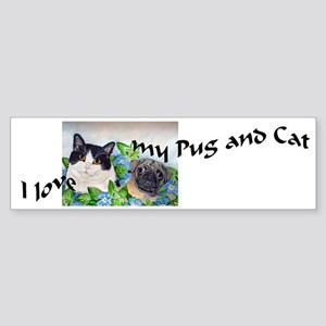 I Love My Pug & Cat Bumper Sticker