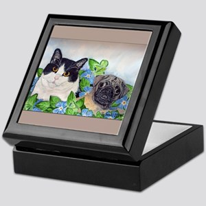 Emmet the Pug and Oreo the Cat Keepsake Box