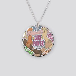 Girl Power Necklace Circle Charm
