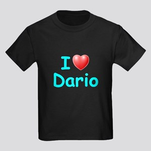 I Love Dario (Lt Blue) Kids Dark T-Shirt