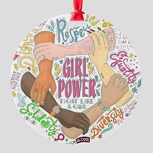 Girl Power Round Ornament