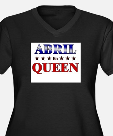 ABRIL for queen Women's Plus Size V-Neck Dark T-Sh