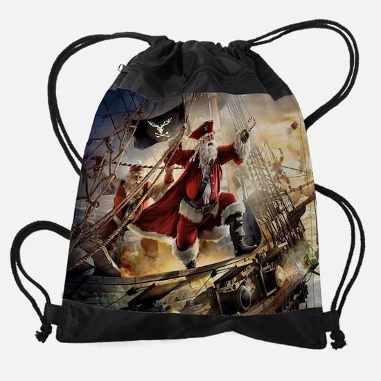 Santa Is A Pirate Drawstring Bag