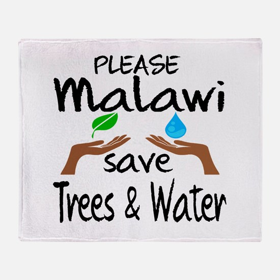 Please Malawi Save Trees & Water Throw Blanket