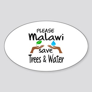 Please Malawi Save Trees & Water Sticker (Oval)