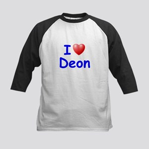 I Love Deon (Blue) Kids Baseball Jersey