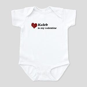 Kaleb is my valentine Infant Bodysuit