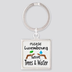 Please Luxembourg Save Trees & Wat Square Keychain