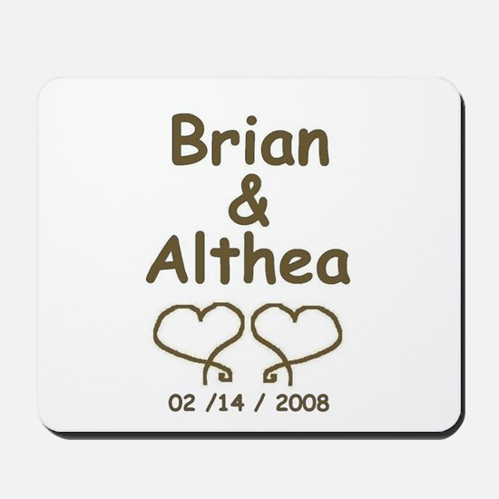 BRIAN AND ALTHEA WEDDING HEARTS Mousepad