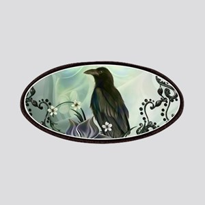 Wonderful raven with flowers Patch