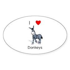 I love donkeys Oval Sticker